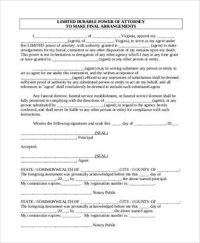 Limited Power of Attorney Form Samples - 8+ Free Documents in Word, PDF - sample limited power of attorney form