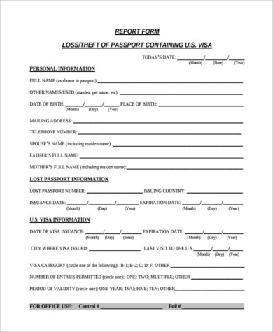 Sample Lost Passport Form - 7+ Free Documents in Word, PDF - lost passport form