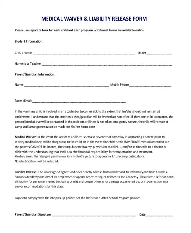 Medical Waiver Form Samples - 9+ Free Documents in Word, PDF - liability waiver template word
