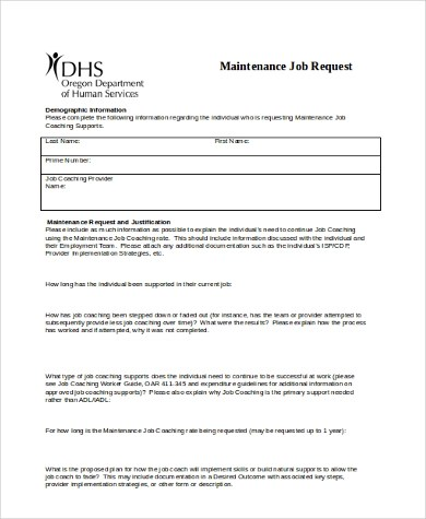 Sample Maintenance Request Form - 7+ Free Documents in Word, PDF