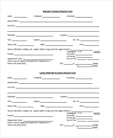Sample Purchase Request Form - 10+ Free Documents in Word, PDF - material request form