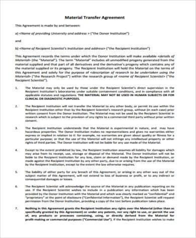 material transfer agreement form - Deanroutechoice