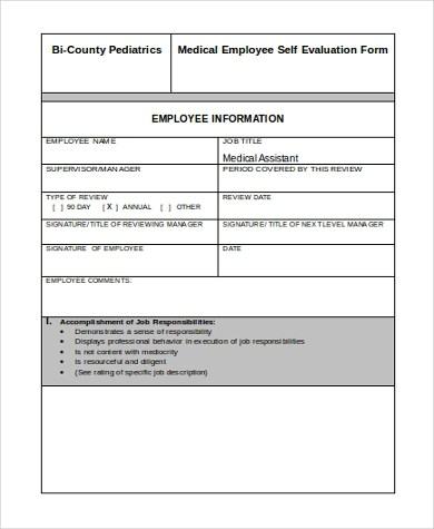 Employee Self Evaluation Form Sample - 8+ Free Documents in Word, PDF - employee self evaluation form