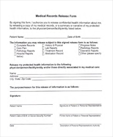 Medical Release Form Samples - 9+ Free Documents in Word, PDF - medical records release forms