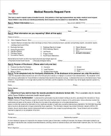 Medical Records Request Form Medical Records Request Form Sample - sample medical records release form