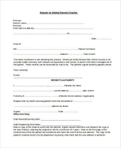Sample Medical Records Request Form Generic Medical Records Release - Patient File Template