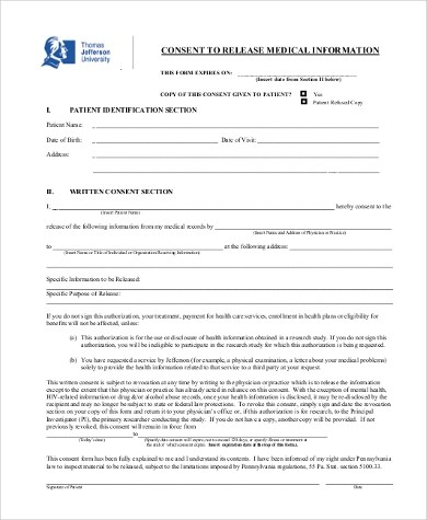 medical release of information consent form - Deanroutechoice - medical release of information form template