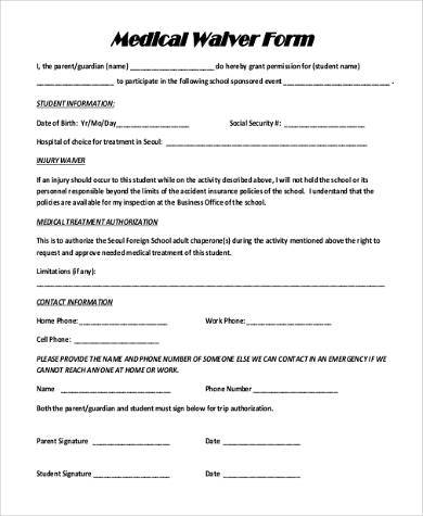 medical waiver form examples You Will Never Believe These - sample medical waiver form