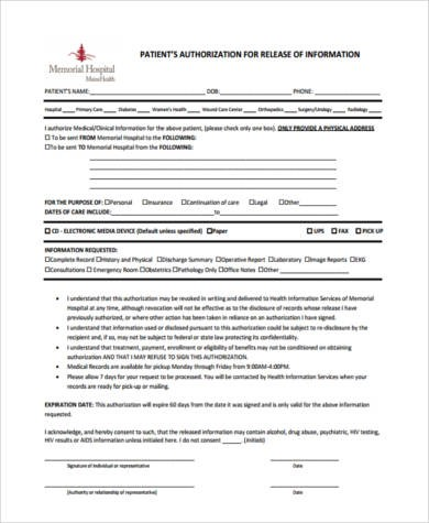 Sample Hospital Release Forms - 8+ Free Documents in Word, PDF