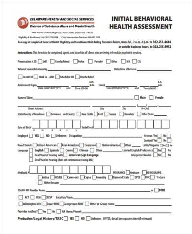 Sample Mental Health Assessment Forms - 7+ Free Documents in PDF - sample health assessment