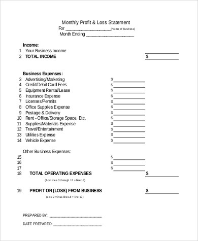 Sample Profit And Loss Form - Template Examples - fillable profit and loss statement