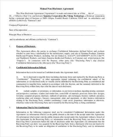 Non-Disclosure Agreement Form Samples - 8+ Free Documents in Word, PDF