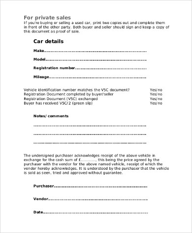 Party Car Sale Contract Template  BesikEightyCo