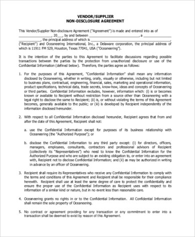 Non disclosure Sample Agreement Form - 9+ Free Documents in Word, PDF - business non disclosure agreement