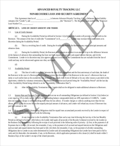 Sample Loan Agreement Form - 8+ Free Documents in Word, PDF - Loan Agreement Example