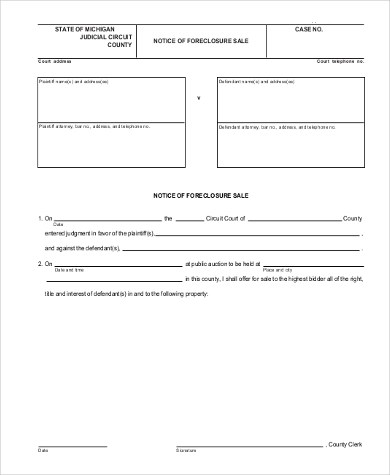 Sample Notice of Sale Form - 6+ Free Documents in Word, PDF - notice form example