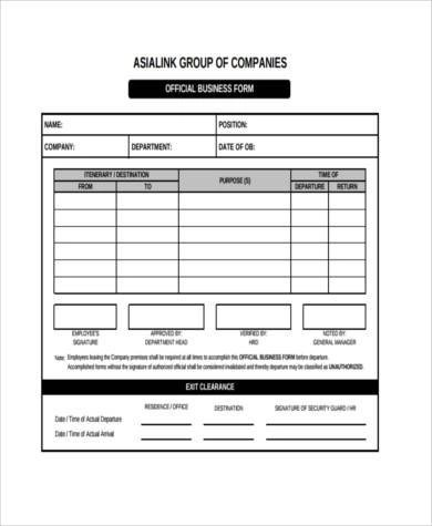 sample business forms - Onwebioinnovate - business form