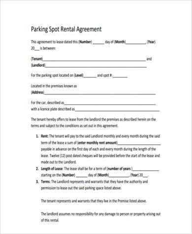 Sample Parking Agreement Forms - 9+ Free Documents In Word, PdfCar - sample lease agreement template