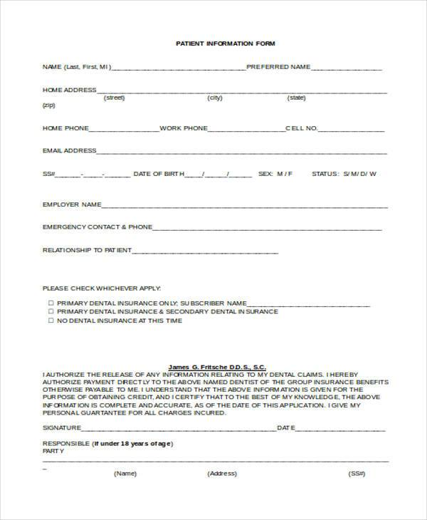 Sample Patient Information Forms - 10+ Free Documents in Word, PDF
