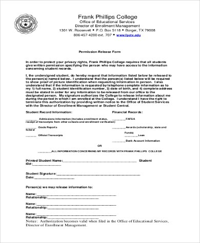 Financial Release Form Sample Privacy Act Release Form - 9+ - financial release form