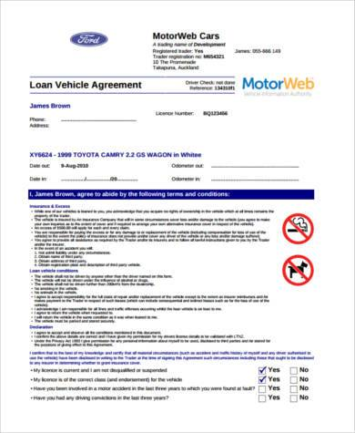 Loan Car Agreement Gallery - Agreement Letter Format - free car loan agreement form