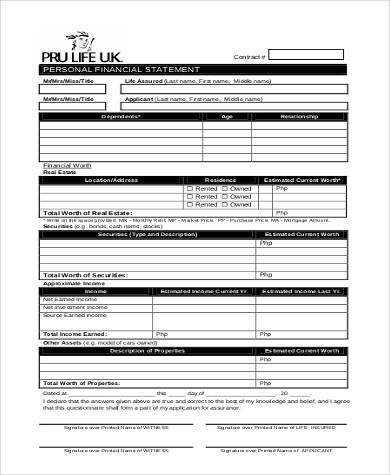 personal financial statements form printable personal financial