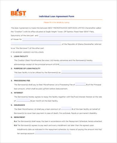 Sample Personal Loan Agreement Forms - 9+ Free Documents in Word, PDF - money loan contract template