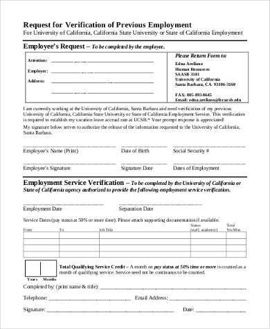 Sample Employment Verification Request Forms - 9+ Free Documents in - past employment verification form
