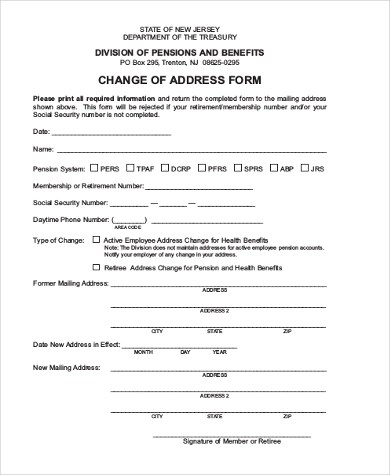 Address Change Form Printable Change Of Address Form Change Of - Printable Address Change Form