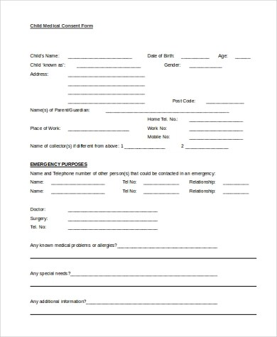 Printable Medical Form Printable Download Of Generic Medical - sample child medical consent form