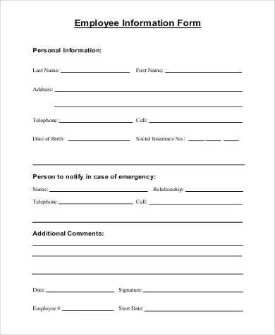 new employee personal information form template new employee