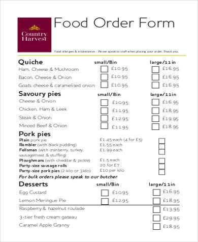 Sample Printable Order Forms - 8+ Free Documents in PDF - food order form