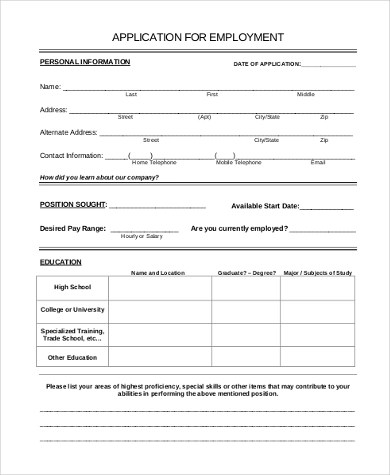 printable job applications pdf - Boatjeremyeaton - printable application