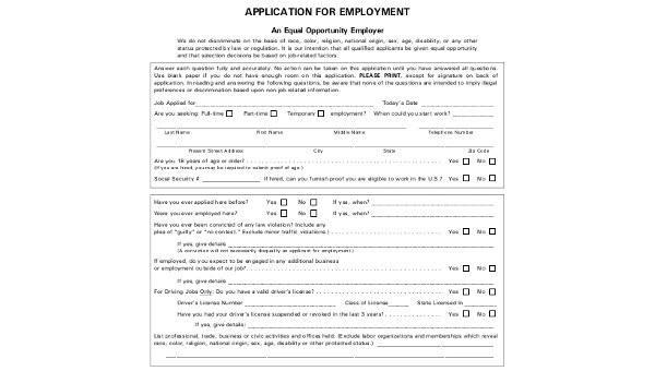 Sample Printable Job Application Forms - 8+ Free Documents in PDF