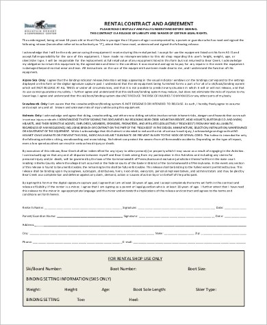 Rental Agreement Form Sample - 9+ Free Documents in Word, PDF - printable rental contract