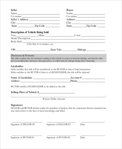 Vehicle Purchase Agreement - 8+ Free Documents in Word, PDF - printable purchase agreement