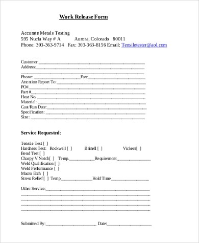Work Release Form Sample - 9+ Free Documents in Word, PDF