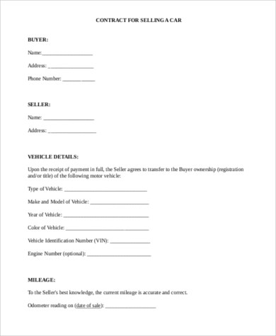 Vehicle Purchase Agreement - 8+ Free Documents in Word, PDF - private car sale contract payments
