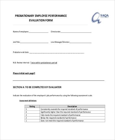 Sample Employee Performance Evaluation Form - 9+ Free Documents in - sample employee evaluation form