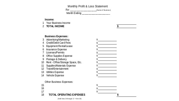 Sample Profit and Loss Statement Form - 8+ Free Documents in Excel, PDF