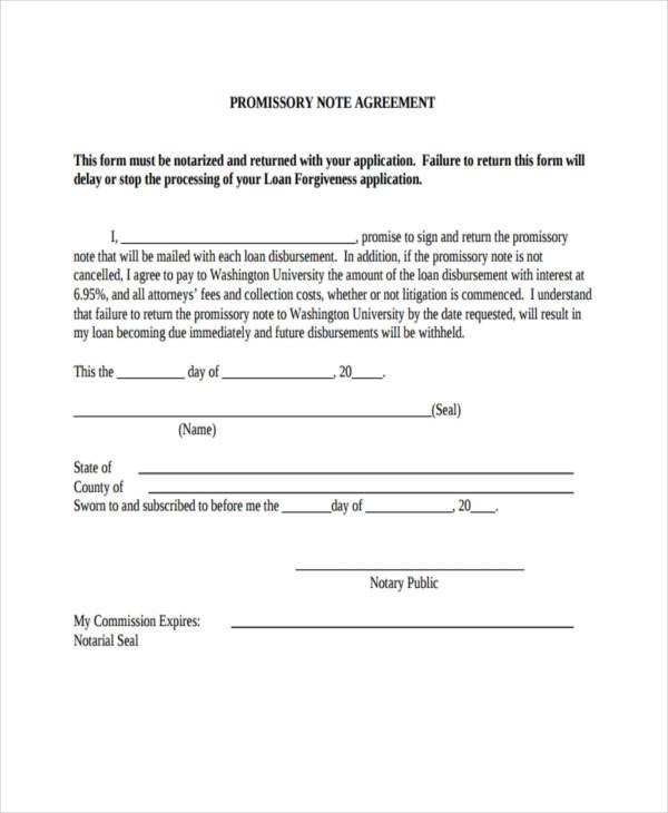 Sample Promissory Note Agreement Forms - 8+ Free Documents in Word, PDF - promissory note sample pdf