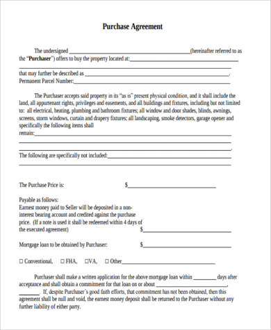 Purchase Agreement Form Samples - 8+ Free Documents in PDF - home purchase agreement