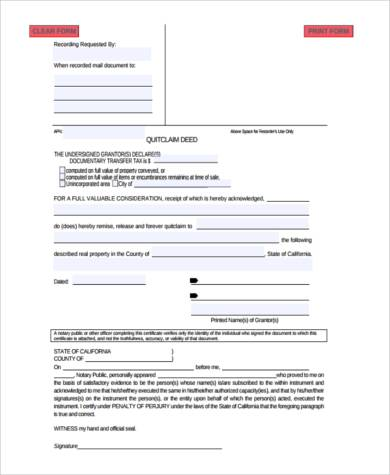 Sample Quit Claim Deed 10 Examples in PDF Word 2800445 - pacte