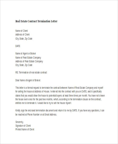 Termination Letter Sample - 7+ Free Documents In Word, PdfContract - examples of termination letters