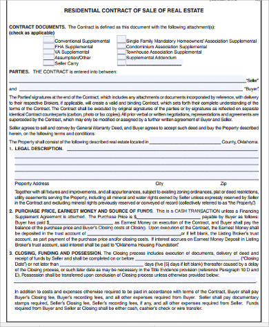 Sample Real Estate Contract Forms - 9+ Free Documents in Word, PDF - home sales contract