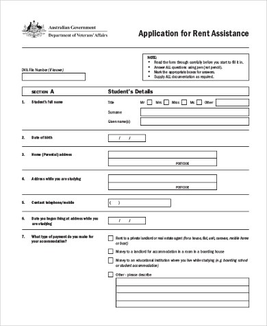 Sample Rent Application Form - 9+ Examples in Word, PDF - rent rebate form