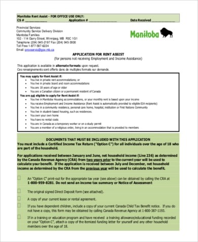 Rent Application Sample - 9+ Free Documents in Word, PDF - rental assistance form