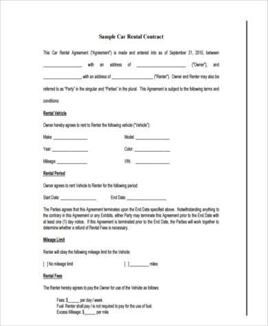 Sample Car Rental Agreement Car Lease Agreement Template Png - sample vehicle lease agreement