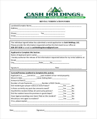 Sample Rental Verification Form - 10+ Examples In Pdf, WordRental - landlord verification form