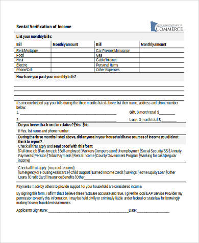 Rental Verification Form Samples - 9+ Free Documents in Word, PDF - income verification form